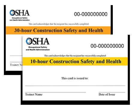 OSHA cards for construction